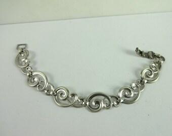 Vintage Sterling Silver 925 WRE W.E. Richards Unusual Swirl Link Bracelet