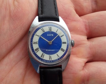 Soviet watch ZARJA, mechanical watch, small watch, blue watch, 19 jewels
