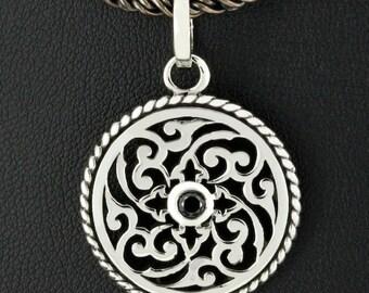 Black Sapphire Zen Celtic Round 925 Sterling Silver Pendant Gothic Jewelry