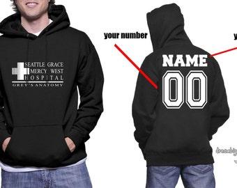 Custom back Seattle Grace Mercy West Hospital on Unisex Hoodie Sweatshirt Color Black