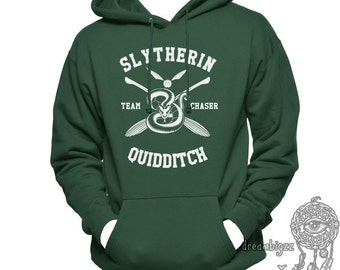 CHASER - Slyth Quidditch team Chaser printed on Forest green Hoodie
