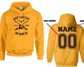 KEEPER - Custom Back, Huffle Quidditch team Keeper Black print printed on Gold/Yellow Hoodie