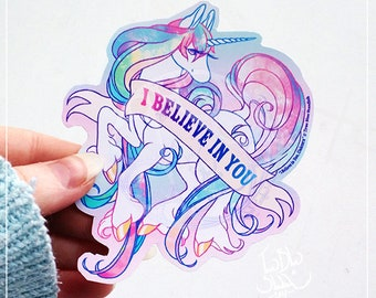 I Believe in You , Unicorn Matte Vinyl Sticker