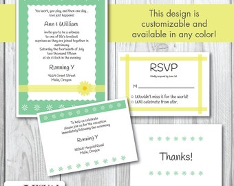 Simply Spring Wedding Invitation Set with White Envelopes
