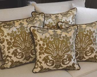 Silk Velvet Cushion Cream Velvet printed gold Fortuny Style Venice, Made in Italy