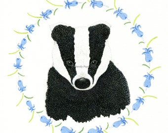 Badger in bluebells greetings card. Badger greeting card.