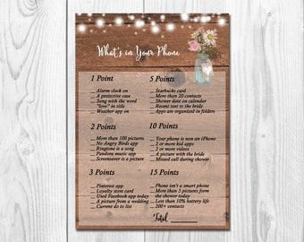 Mason Jar What's in Your Phone Game - Printable Rustic Bridal Shower Phone Game -  Mason Jar Bridal Shower Phone Game, String lights, WS011