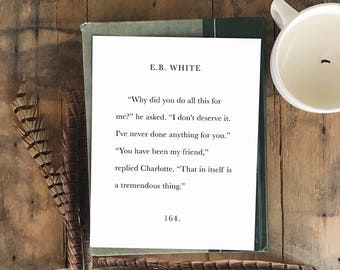 Charlotte's Web Friendship Quote 8x10 or 11x14 Art Print // Black Type on White, Modern Farmhouse, Charlotte's Web, Book Page Print
