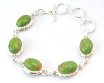 Adjustable Green Copper Turquoise Bracelet - Sterling Silver Handmade Bracelets - Turquoise Bracelet