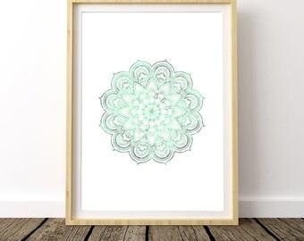 Zen Art, Lotus Flower, Blue Mandala, Blue Lotus, Wall Art, Instant Download, Meditation Room, Buddha Wall Art, Relaxation gifts