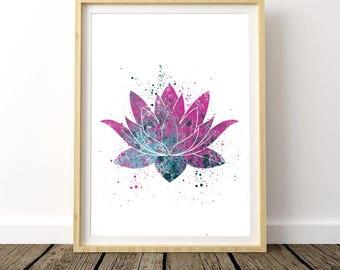 Yoga Bedroom Decor, Bohemian Bedroom Wall Art, Above Bed Wall Art, Lotus Flower, Best Yoga Gift, Yoga Gift Print, Printable Art
