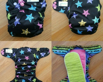 Bling stars with stripes inner cloth diaper - AIO cloth diaper - one size cloth diaper - cotton velour - hemp bamboo - wahm cloth diaper