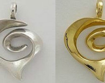 Heart Spiral Triple Heart Whimsical Heart Marriage Cross Pendant Charm Sterling Silver  Gold Vermeil 3D 3 Dimension FREE SHIP