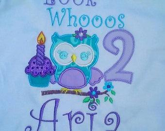 Turquoise Purple Owl Look Whooos 1 Birthday Onesie