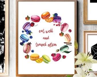 Macarons print, macaroons print, fashion illustration, fashion art print, watercolor painting, watercolor food, food art, food print wall