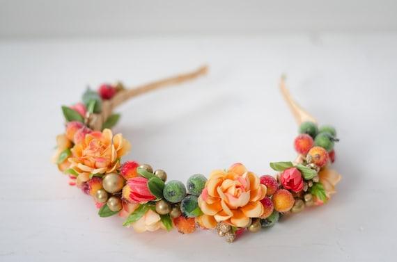 Coral orange peony headband / Vinok / made in Ukraine / ukrainian / wreath / tulip flower crown / berry headband / orange / gold color
