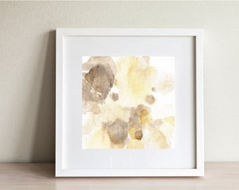 "Abstract watercolor floral painting, abstract art, Fine Art Print, yellow, brown, tan, neutral, ""Bloom 2"""