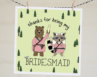 Thanks for Being My Bridesmaid Card | Thanks for Being Maid of Honour Card | Bridal Thank You Card | Thank You Gift | Bridesmaid Thank You