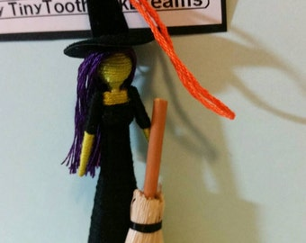 Halloween Witch Ornament, tiny toothpick doll, made to order
