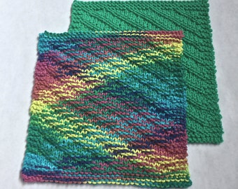 Hand Knit Cotton Dishcloths, Set of 2