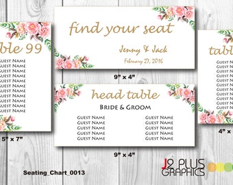 Instant Download Wedding Table Seating Chart Sign, Wedding Seating Plan, Floral Wedding Seating Chart Printable Template, DIY Editable pdf