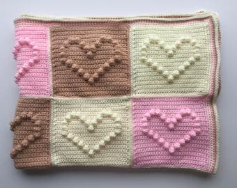 Heart Crochet Baby Blanket, Bobble throw, New born girl afghan, Baby shower gift, Nursery throw, handmade blanket, nursery bedding