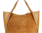 Tan Taupe Red Genuine Leather Suede Designer Shoulder Bag Made in Italy Womens Fashion