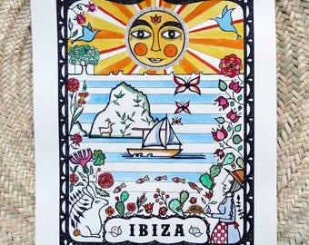 Fine Art Print, hand coloured with watercolour, Ibiza inspiration, Ibiza landscape, Ibiza souvenir, Limited edition, Present for friends