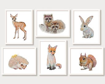 Woodland Nursery Art Forest Animals Baby Animal Prints Nursery Decor Bunny Rabbit Deer Fawn Fox Hedgehog Squirrel Raccoon Print Set of 6