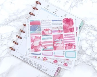MATTE Classic HP Watercolour Roses Planner Sticker Kit (3 Sheets) - For Classic Happy Planners