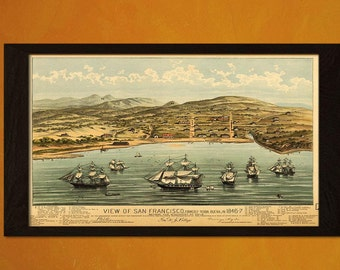 FINE ART REPRODUCTION Quality Print View Old San Francisco Map 1846 Antique Map Retro Poster Old Ancient Map    Vintage