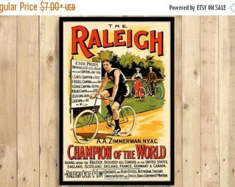 Printed on textured bamboo Art paper - Poster The Raleigh Art Print Bicycle Sport Poster Vintage Style Advertising Retro Wall D