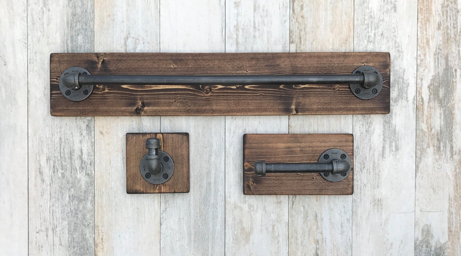 industrial modern rustic bathroom set of 3 towel holder toilet
