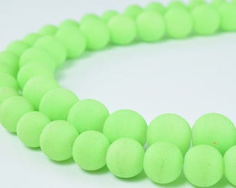 Glass Beads Matte Neon Green Rubber Over Glass Size 8mm/10mm Round For Jewelry Making Item#789222045975