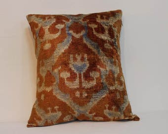 İkat Velvet Pillow Cover, 15'' x 17'' , Decorative Pillow, Handmade Silk Pillow, İkat Lumbar Pillow,  Shipping with Fedex 1-3 days