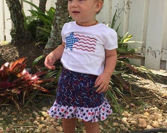 Wavy flag shirt, girls patriotic t shirt, fourth of July shirt