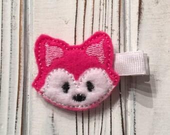Valentine's hair clips, Fox hair clips, pink fox hair clip, pink hair clip, pink feltie, girls hair clips