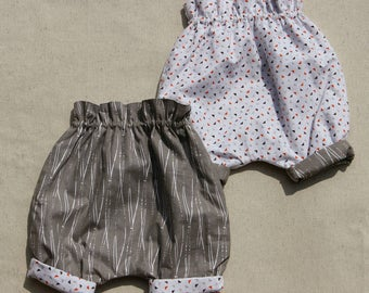 Baby trousers, reversible, harem pants baby reversible harem pants, size 0-3months, 100% cotton, handmade