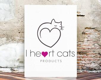 Cat Logo, Premade Logo Design, Custom Logo, Watercolor Logo