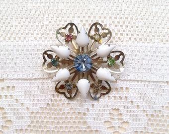 Vintage White Milk Glass and Pastel Rhinestones Flower Brooch