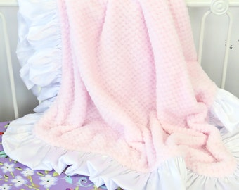Light Pink with White Satin Ruffle Minky Baby Girl Blanket | Light Pink, Blush, White, Soft,  Minky Baby Girl Blanket | Stroller Accessery
