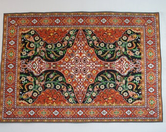 Dollhouse Miniature Large Sized Sophisticated Floral & Medallion Area Rug (1/12 Scale)