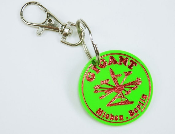 Key Ring Green Ride chip from the carousel giant Berlin vintage Green Carousel amusement Square pendant bag pendant