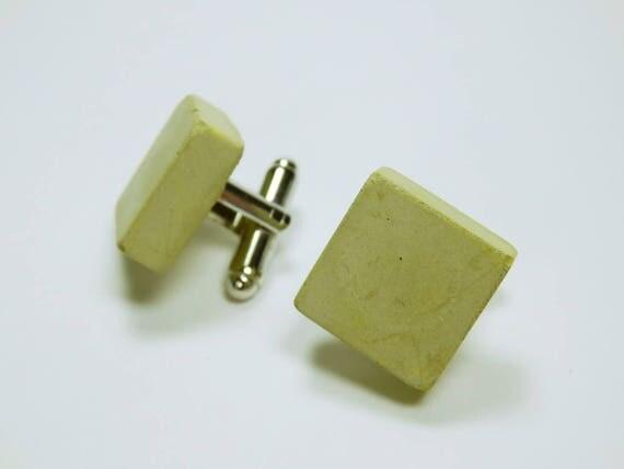Cuff buttons Square cubes of greenish concrete wedding jewelry Mens men Jewelry Cuff button Concrete Jewelry