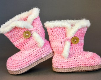 Light pink baby Uggs-like booties, Crocheted baby booties, Handmade baby shoes, 0-6 months