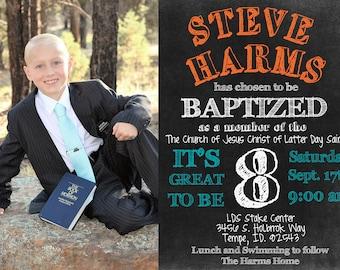 Baptism Boy PRINTABLE Photo Invitation