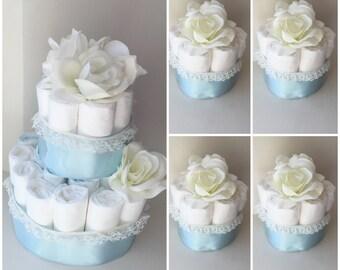 Baby Boy diaper cake baby shower centerpieces