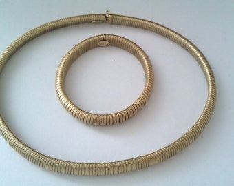 coiled snake like metal necklace & bracelet