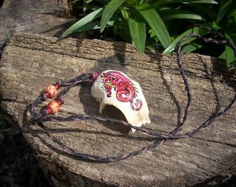 Bird Skull Necklace/Pendant- Red Dragon