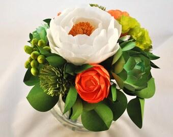 The Orange + Teal Peony Bouquet   Paper Flower Bouquet, Unique Floral Arrangements, Handmade Gifts, Weddings Flowers, Bridal Bouquet: Small